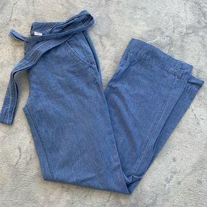 Wide leg denim J.Crew pants with waist tie